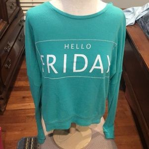"Green sweater ""Hello Friday"""